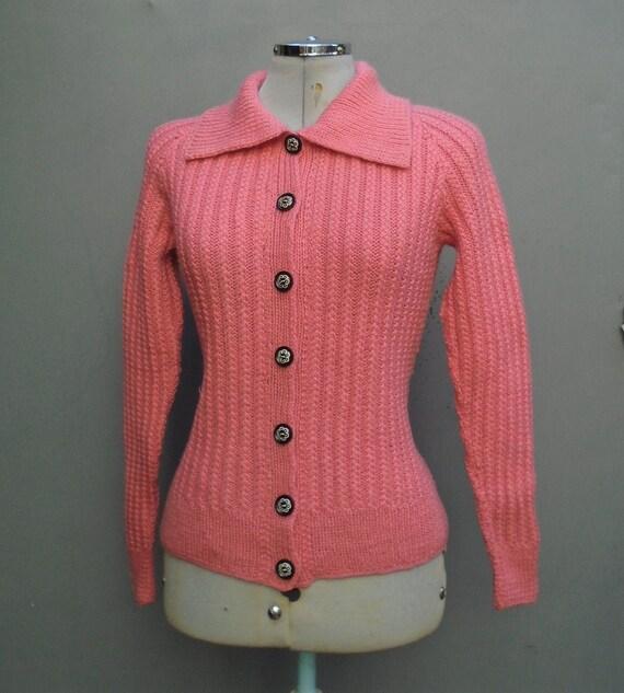Original Vintage 1950s Hand Knitted Cardigan Jacke