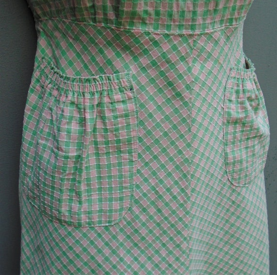 Vintage 1940s Pinafore Sun Dress Checked Pink Gre… - image 6