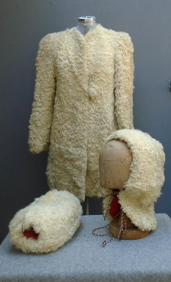 Superb Original Vintage 1940s Coat Jacket Hood Mu… - image 2