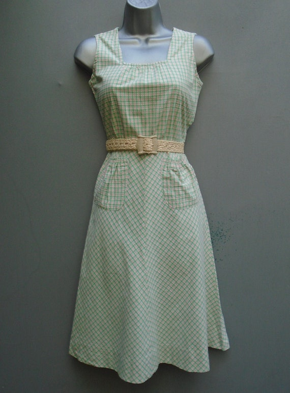 Vintage 1940s Pinafore Sun Dress Checked Pink Gre… - image 1