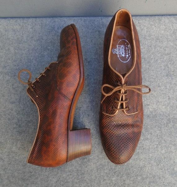 "Superb Vintage 1930s 1940s ""Swanky"" Shoes Lace Ups"