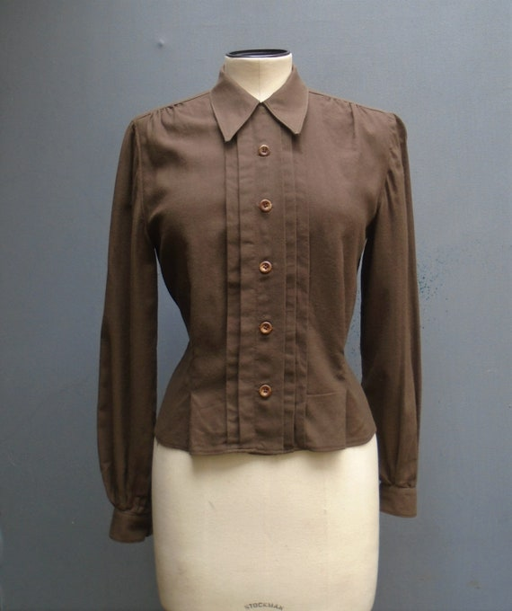 Vintage Reproduction 1940s 50s Blouse Brown Wool C