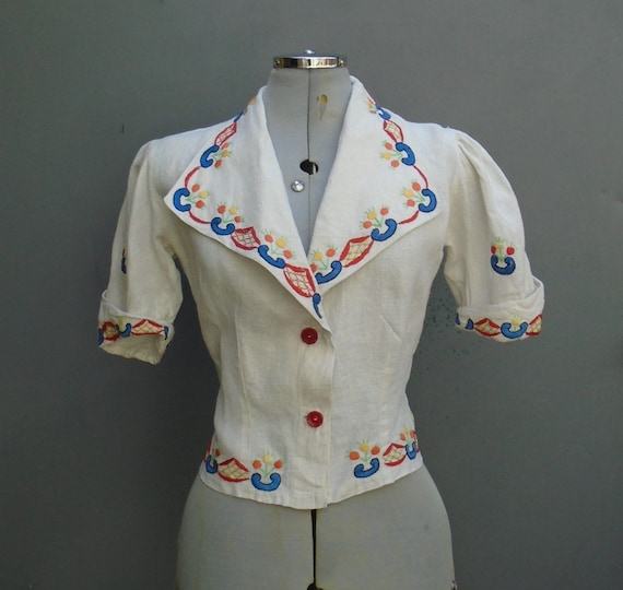 Rare Vintage 1930s Hungarian Hand Embroidered Peas