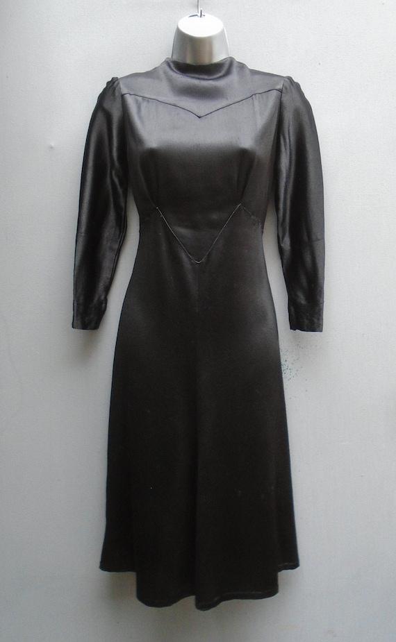 Rare Slinky Vintage 1930s 40s Dress Black Satin Cr