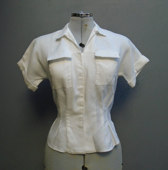 Superb Vintage 1950s Blouse White Moygashel Irish