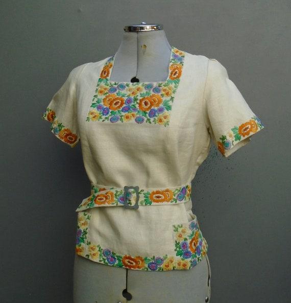 Rare Vintage 1930s Handmade Embroidered Peasant Bl