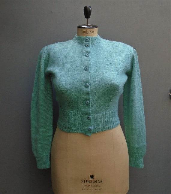 1940s Reproduction Cardigan Hand Knitted Vintage S