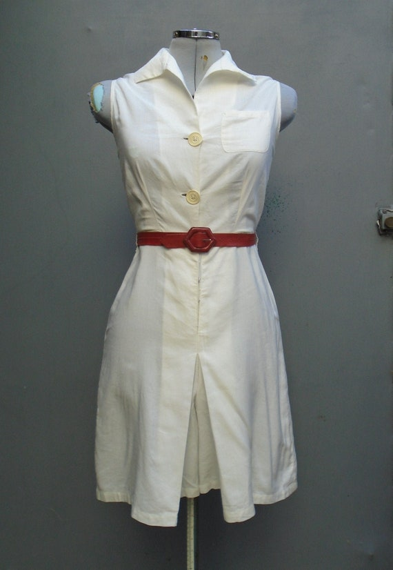 Vintage 1930s White Play Suit Tennis Dress Rayon D