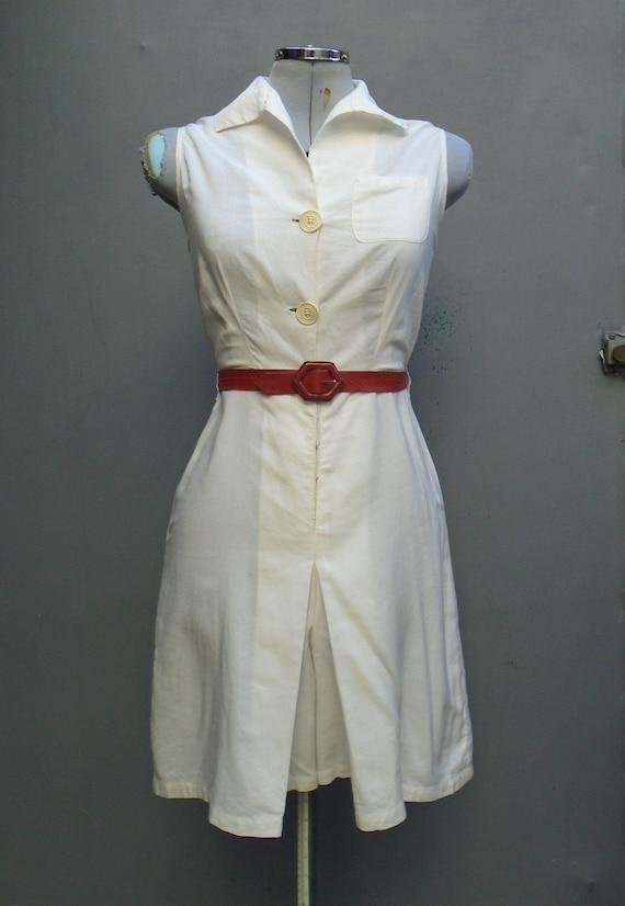 Vintage 1930s White Play Suit Tennis Dress Rayon D