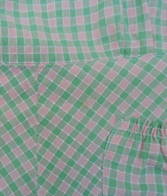 Vintage 1940s Pinafore Sun Dress Checked Pink Gre… - image 10
