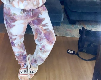 Ice dye sweatsuit, Brown and rose Valentine's Day sweats, Unisex Ice Dye, Tie dye hooded, oversized sweatshirt and pants, tie dye outfit