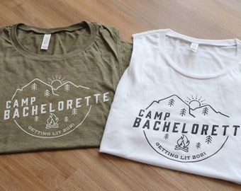 Camp Bachelorette Muscle Tanks, Camping Bridal Party Shirts, Getting Hitched, Outdoor, Hiking Gifts, Getting Lit tanks, Outdoor Bachelorette