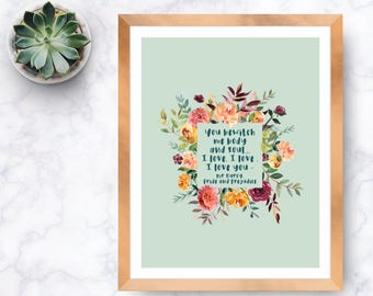 You bewitch me...I love you, Jane Austen, Mr Darcy, pride and prejudice, watercolour flowers, Watercolor roses, book quote, film