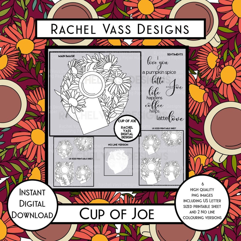 Cup of Joe coffee themed hand drawn digital stamp and image 0