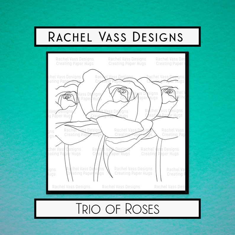 Trio of Roses hand drawn digital stamp instant download Digi image 0