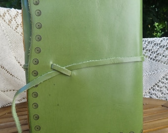 Leather journal/guest book, photo album, green, pyrography