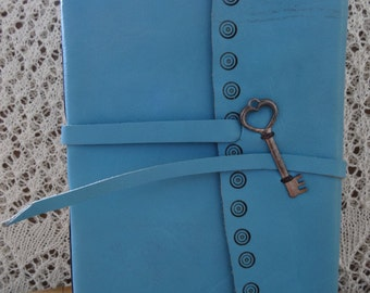 Leather journal/guest book/photo album, blue, with key
