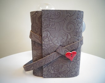 Leather sketch book/diary, deep purple, with a heart
