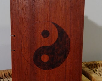 Yin-Yang coptic stitch journal/guest book, photo album, wooden covers (pyrography)