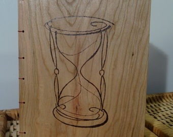 Hourglass coptic stitch journal/guest book/photo album, with wooden covers (pyrography)
