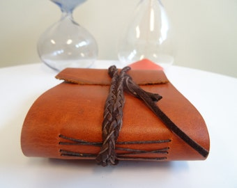 Small Leather Book, handmade, wrapped