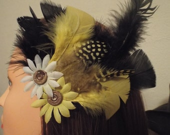 Wild Flower and Feathered Hair Fascinator with 45 Long Colt Bullets - SASS, Steampunk, Burlesque