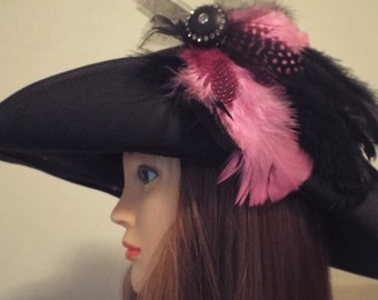 Hot Pink and Black Feathered Hair Fascinator - SASS, Steampunk