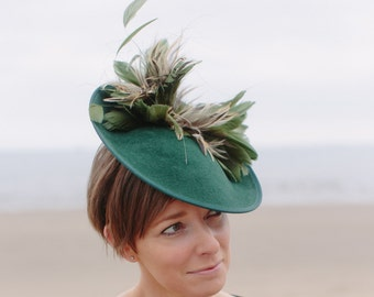 Velour peachbloom felt percher saucer hat with feather mount