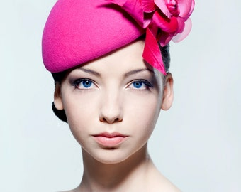 Felt beret with silk dupion and silk organza flower spray perfect for a wedding/ the Melbourne Cup.