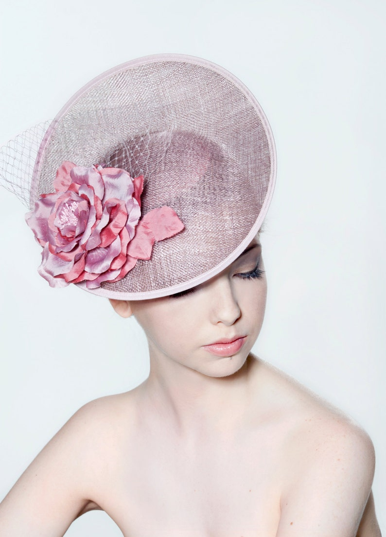 Sinamay Saucer With Open Silk Rose And Veiling Perfect For A Etsy