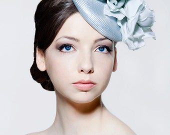 Straw percher hat with silk dupion roses perfect for weddings, Royal Ascot, Melbourne Cup.