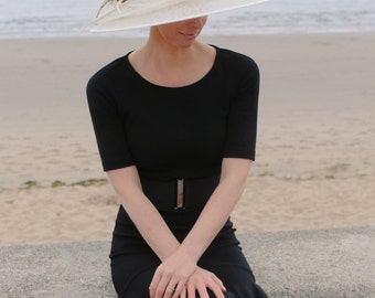 Formal double brimmed feather trim hat perfect for a wedding/ the Melbourne Cup.