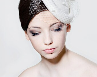 Wool felt vintage inspired percher hat with bow and merry widow spot veiling perfect for a wedding, Ascot races,  the Melbourne Cup.
