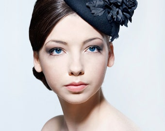 Elegant black felt percher hat with silk dupion flower spray perfect for weddings, Ascot, the Melbourne Cup.