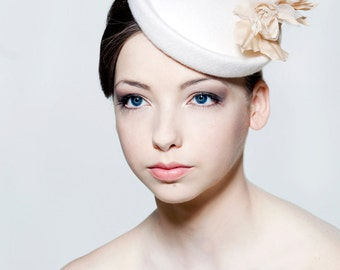 Felt hat with  silk dupion and silk organza flower spray perfect for a wedding/ the Melbourne Cup.