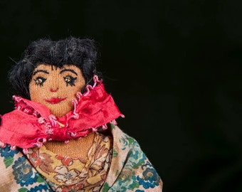 Folk Art Cloth Spanish Doll By Ann Wells 1945