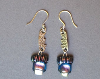 "Silver and Glass Earrings--""Blue Water""-----sterling silver,  dichroic glass, pmc"