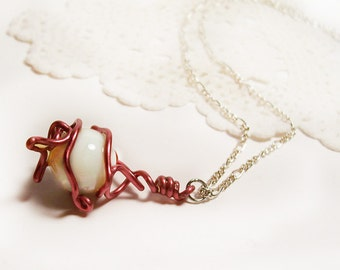"Pink Wire Wrapped White Glass Ball Necklace, Silver Chain, 18"", Handmade"