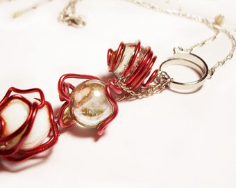 "Pink and Red Wire Wrapped, 3 White and Clear Glass Ball Necklace, Silver Chain, 18"", Handmade"
