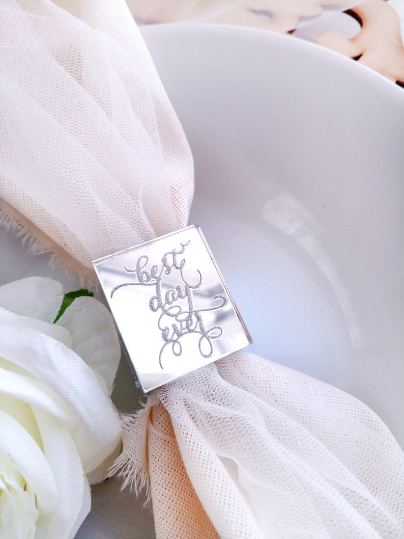 b02ada0d8f54c 15 items set Personalized wedding rings for napkins to decorate the table  mirror cube