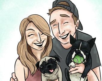 Custom illustration, Full color portrait (4 people)