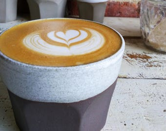 Coffee cup - hand thrown ceramic coffee tumbler for espresso, latte or any other drink