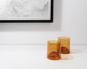 Set of 2 blown glass tumblers - handblown colored glass tumblers