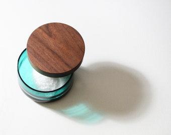 Blown glass salt cellar - handmade corse salt container
