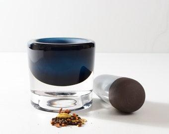 Blown glass and ceramic mortar and pestle set - handmade