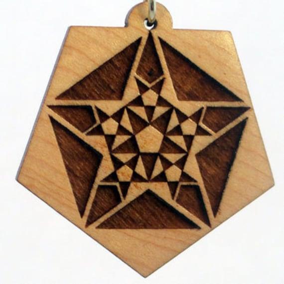 Fractal Pendant Lights: Fractals Lasered Maple Wood Crop Circle Pendant