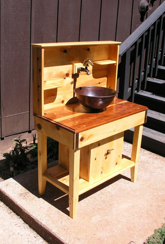 Super Custom Cedar Potting Bench Water Station Outdoor Kitchen Outdoor Bar Wet Sink With Reclaimed Redwood Counter Top Copper Sink And Faucet Evergreenethics Interior Chair Design Evergreenethicsorg