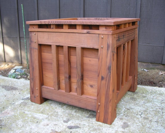 Mission Style Redwood Planter Craftsman Style Arts And Craft Etsy