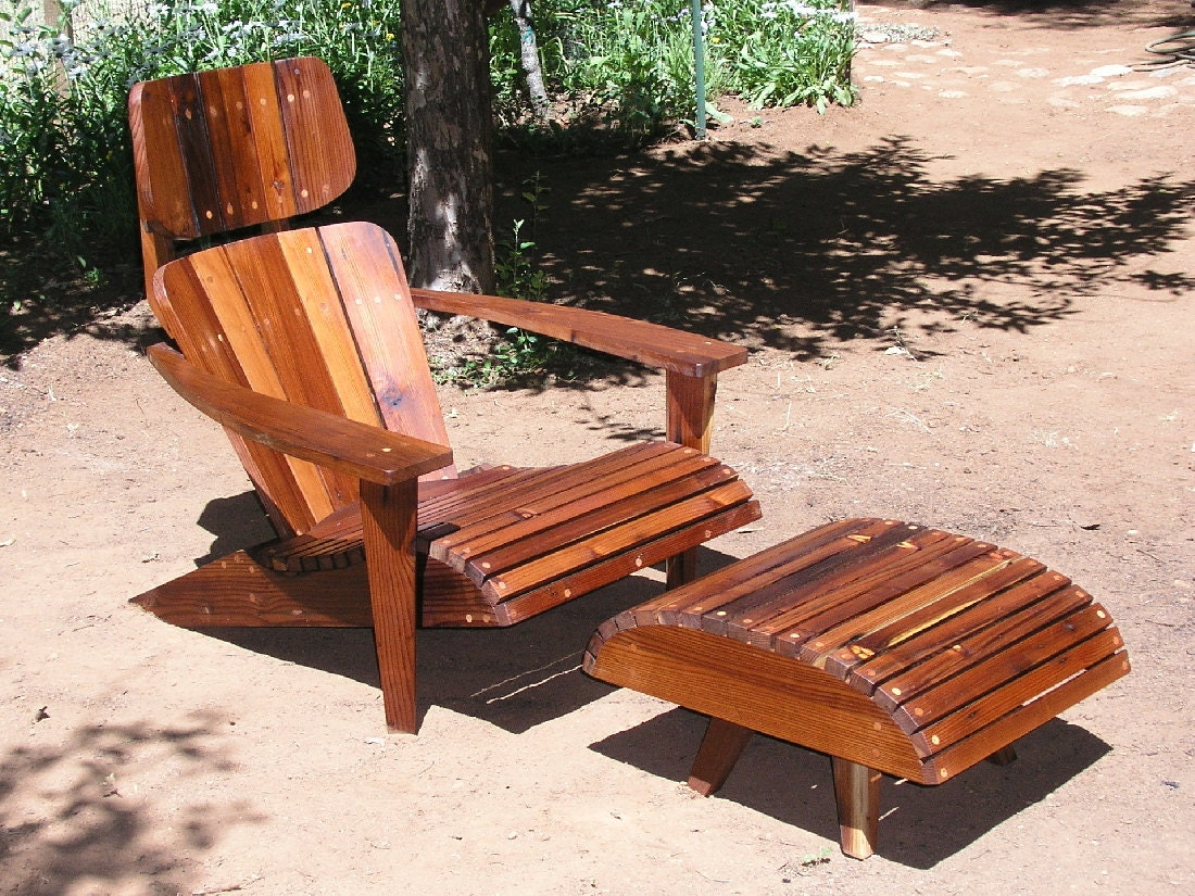 Mid Century Modern Adirondack Chair Reclaimed Redwood Etsy