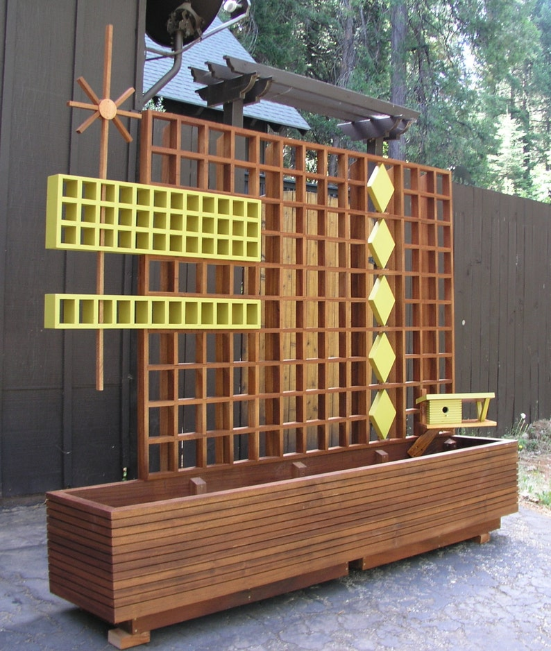 Mid Century Modern Marque Privacy Screen or Trellis, Custom Sizes, Outdoor  Divider, Googie, Garden Sculptures  Planter not included